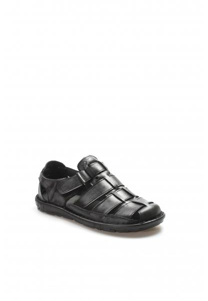 Ayakkabıhane Kaliteli Hakiki Deri Siyah Klasik Erkek Sandalet AH927MA021
