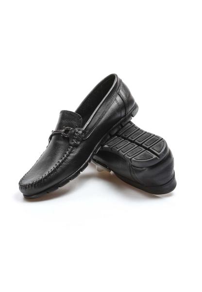 Ayakkabıhane İçi Dışı Hakiki Deri Siyah Erkek Loafer Babet Ayakkabı AH783MA06