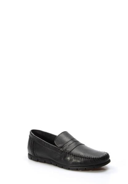 Ayakkabıhane İçi Dışı Hakiki Deri Siyah Erkek Loafer Babet Ayakkabı AH783MA20