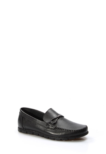 Ayakkabıhane İçi Dışı Hakiki Deri Siyah Erkek Loafer Babet Ayakkabı AH783MA44DUZ