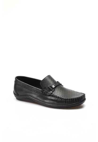 Ayakkabıhane İçi Dışı Hakiki Deri Siyah Erkek Loafer Babet Ayakkabı AH858MA351