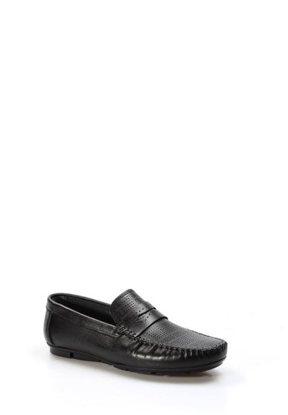 Ayakkabıhane İçi Dışı Hakiki Deri Siyah Erkek Loafer Babet Ayakkabı AH858MA411