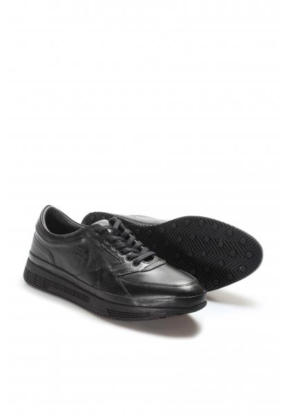 Ayakkabıhane İçi Dışı Hakiki Deri Siyah Erkek Sneaker Spor Ayakkabı AH722MA331