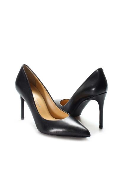 Ayakkabıhane İçi Dışı Hakiki Deri Siyah Kadın İnce Topuklu Stiletto Ayakkabı AH019ZA20-304