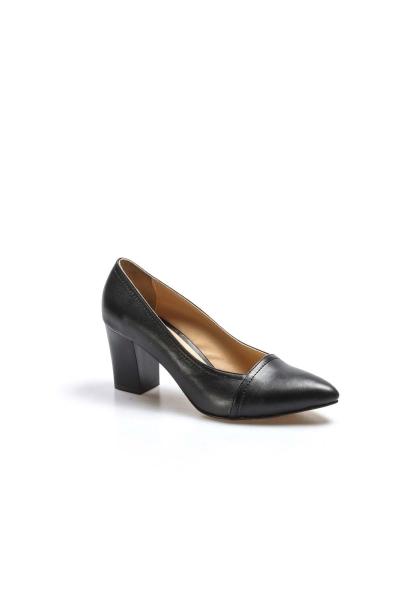 Ayakkabıhane İçi Dışı Hakiki Deri Siyah Kadın Kalın Klasik Topuklu Ayakkabı AH064ZA795