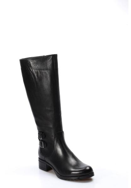 Ayakkabıhane Kaliteli Hakiki Deri Siyah Kadın Kısa Topuk Klasik Çizme AH757SZA5111