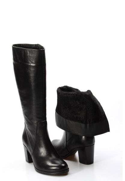 Ayakkabıhane Kaliteli Hakiki Deri Siyah Kadın Topuklu Klasik Çizme AH757SZA5112