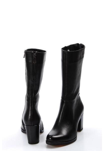 Ayakkabıhane Kaliteli Hakiki Deri Siyah Kadın Topuklu Klasik Çizme AH757SZA8805