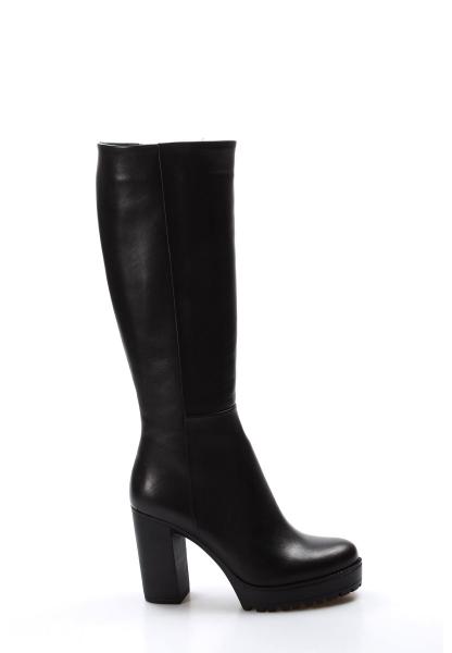 Ayakkabıhane Kaliteli Hakiki Deri Siyah Kadın Topuklu Klasik Çizme AH903SZA17389