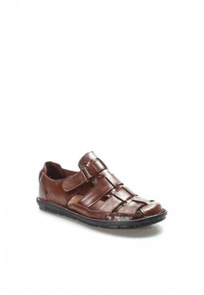 Ayakkabıhane Kaliteli Hakiki Deri Taba Klasik Erkek Sandalet AH927MA021