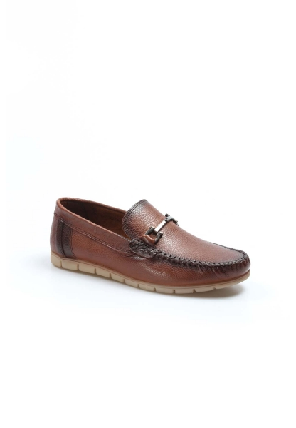 Ayakkabıhane İçi Dışı Hakiki Deri Taba Erkek Loafer Babet Ayakkabı AH783MA06