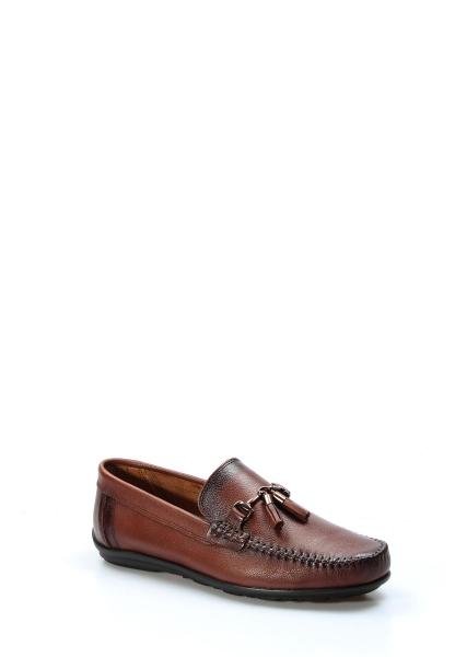 Ayakkabıhane İçi Dışı Hakiki Deri Taba Erkek Loafer Babet Ayakkabı AH783MA61
