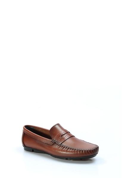 Ayakkabıhane İçi Dışı Hakiki Deri Taba Erkek Loafer Babet Ayakkabı AH858MA410
