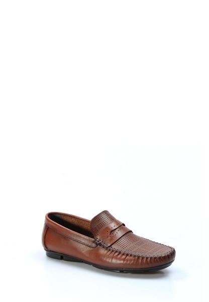 Ayakkabıhane İçi Dışı Hakiki Deri Taba Erkek Loafer Babet Ayakkabı AH858MA411
