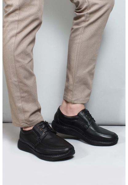 My Fiero Hakiki Deri Ortopedik Siyah Erkek Casual Ayakkabı