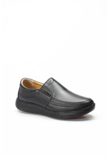 Ayakkabıhane İçi Dışı Kaliteli Hakiki Deri Siyah Ortopedik Erkek Casual Ayakkabı AH951MA204