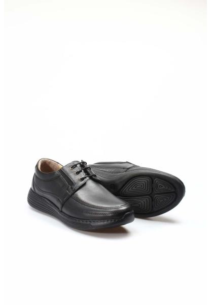 Ayakkabıhane İçi Dışı Kaliteli Hakiki Deri Siyah Ortopedik Erkek Casual Ayakkabı AH951MA203