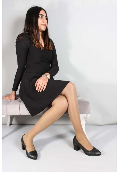 My Fiero Siyah Kadın Kısa Topuklu Ayakkabı