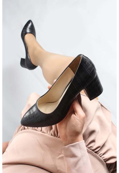 My Fiero Siyah Kroko Kadın Kısa Topuklu Ayakkabı
