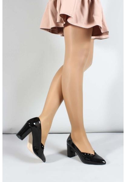 My Fiero Siyah Rugan Kadın Yüksek Topuk Ayakkabı