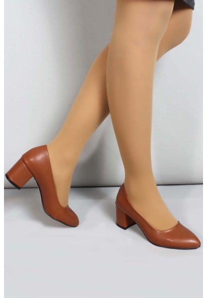 My Fiero Taba Kadın Kalın Topuklu Ayakkabı
