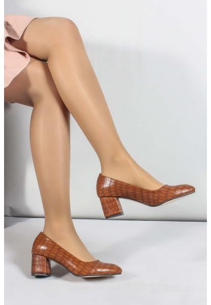 My Fiero Taba Kroko Kadın Kısa Topuklu Ayakkabı